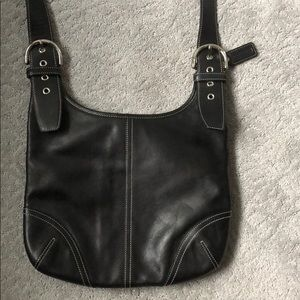 EUC Authentic Coach Black Leather Cross Body Bag.